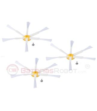 Pack 3 Cepillos laterales de 6 aspas Roomba para series 500 600 y 700