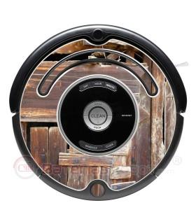 Legno rattan. Vinile per Roomba - V2