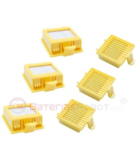 Set of 6 filters for Roomba 700 (Compatible iRobot)